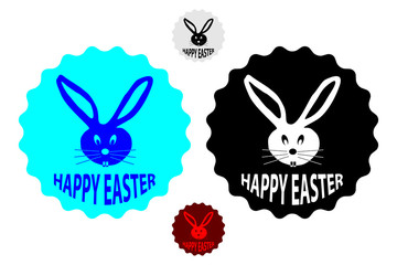 Happy easter - rabbit head - vector sticker - set
