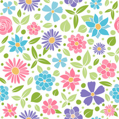 Spring background - seamless pattern with flowers. Vector.