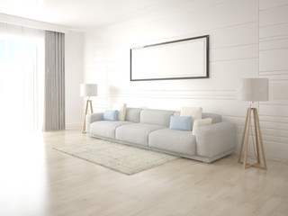 Mock up a modern living room with a large bright sofa and a trendy background.