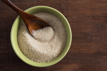 A bowl of organic cane sugar