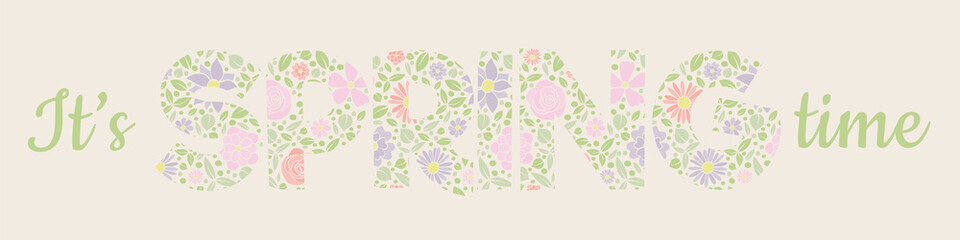 Vibrant spring banner with floral text. Vector.