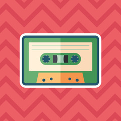 Audio cassette sticker flat icon with color background.
