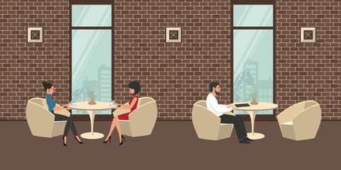 People in the restaurant. Two young women are sitting at the table, at another table - one man. Interior of a cafe with white furniture on a brick wall background. Vector illustration.