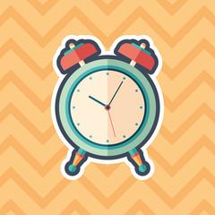 Retro alarm clock sticker flat icon with color background.
