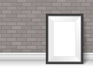 Frame template near brick wall on the floor vector grey black