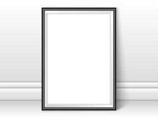 Frame template near wall realistic vector black