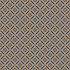 Abstract diagonal gold modern triangle dot Cross lines vector pattern, background. Seamless repeatable grid, mesh pattern. Template of lattice or grillage texture. Vintage black and white tiles vector