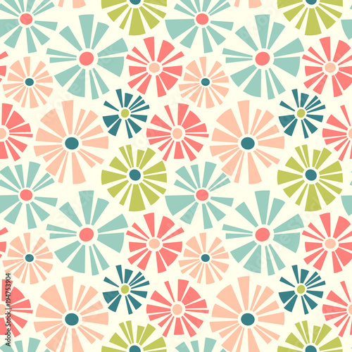 Spring Theme Seamless Pattern Of Cut Out Style Daisies Cheerful