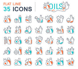 Set Vector Line Icons of Oils