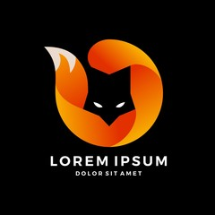 fox logo modern gradation round circle on black background
