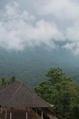 Panorama on the roof of the temple in the mountains of Bali