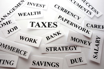 Words related with finances, taxes concept