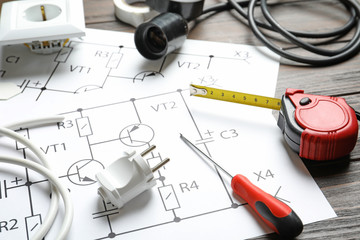 Different electrical tools on circuit diagram