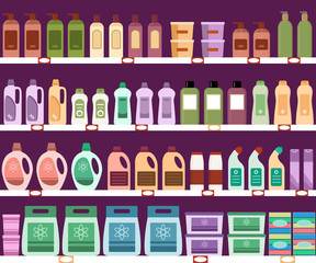Shelves with household chemicals in the supermarket. Seamless pattern.  Vector illustration.