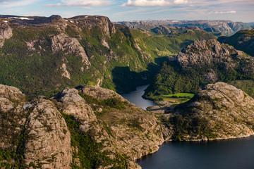 View from Preikestolen rock in Norway
