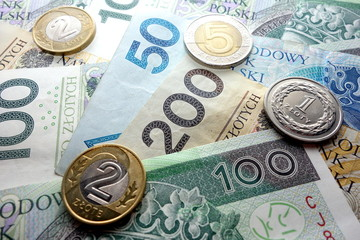 Polish currency close up