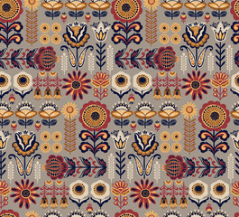 Folk floral seamless pattern. Modern abstract design.