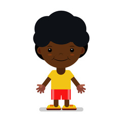 A boy of African nationality in sportswear. Vector. The cartoon.
