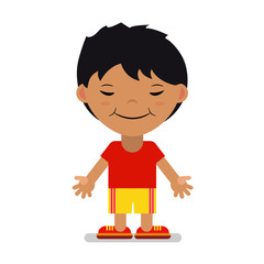 Asian boy in sportswear. Vector. Cartoon.
