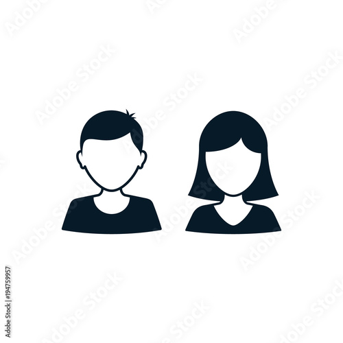 Man And Woman User Icon Avatar Profile Vector Silhouette Male And