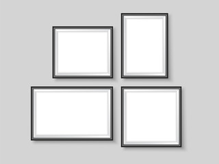 Picture frames set realistic wall gallery mock up vector