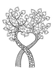 Two trees with heart. Hand drawn picture. Sketch for anti-stress adult coloring book in zen-tangle style. Vector illustration for coloring page, isolated on background.