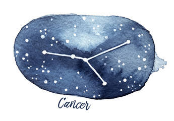 Cancer Zodiac Sign in the shape of Star Constellation in the Night Sky. Hand drawn water colour graphic illustration, cutout, white background. Dark blue shades, textured paper, astrological pattern.