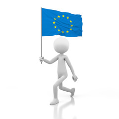 Small Person Walking with EU Flag in a Hand