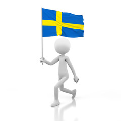 Small Person Walking with Sweden Flag in a Hand