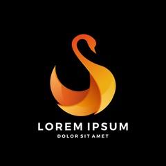 swan logo flame 3d gradient vector download