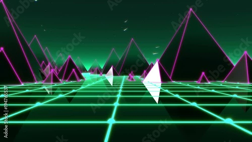 Fantasy flight through VJ 80's pyramidal scene with meteors