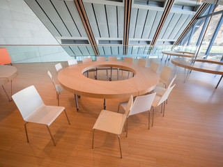 Space dedicated to educational workshops in the modern building of the Museum of Science of Trento.