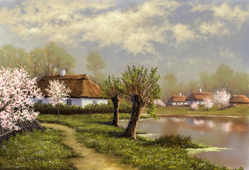Spring. Oil paintings landscape, river, village, Ukraine. Digital art.