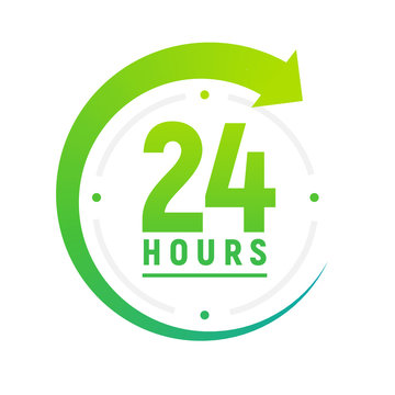 24 hours a day icon. Green clock icon around work. Service time support 24 hour per day