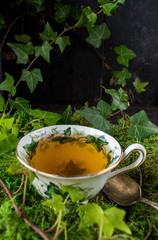 cup of tea in fine china sitting on green moss with ivy vines