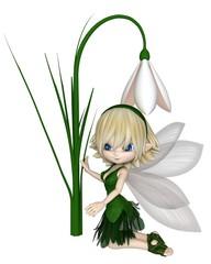 Cute toon blonde snowdrop fairy in a green leafy dress kneeling by a spring snowdrop flower, 3d digitally rendered illustration