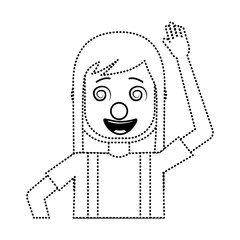 funny smile woman with clown mask silly vector illustration dotted line design