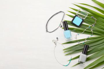 Pastel colors cosmetics. Beauty blogger concept