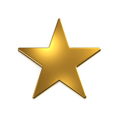 Gold Star Icon. 3D Gold Render Illustration
