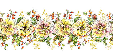 Seamless border of climbing roses and sprigs, hand-drawing.