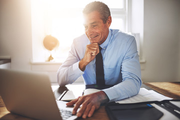 Smiling mature businessman working online at his office desk