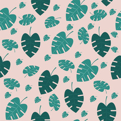 spring seamless pattern with plants green leaves