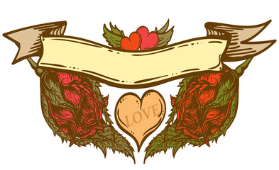 hand drawn Old-school styled banner with red roses and hearts. vintage banner. Retro tattoo styled banner.