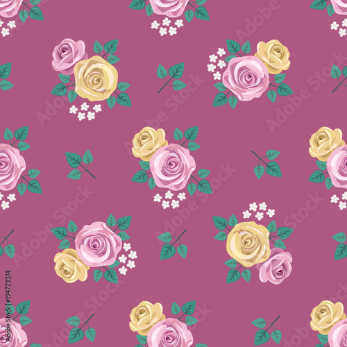 Fine Seamless Vintage Romantic Pattern With Yellow And Pink Roses Beutiful Home Inspiration Xortanetmahrainfo