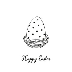 Black and white Easter egg in the nest and inscription Happy Easter. Vector template suitable for greeting cards, posters, holiday invitations.
