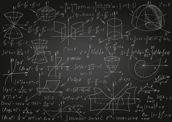 Mathematical formulas drawn by hand on a black chalkboard for the background. Vector illustration.