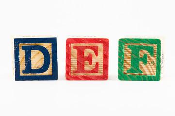 DEF alphabet blocks