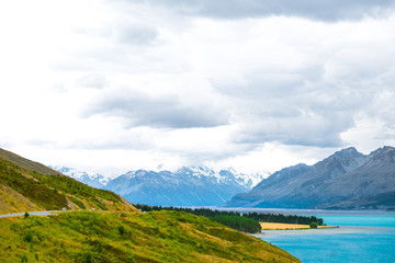 Beautiful scene of mt cook national park with mountain, lake, road and cloudy at Peter's Lookout
