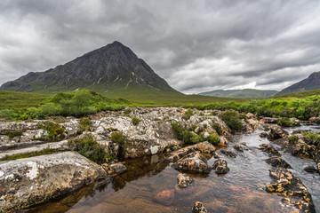 River Etive and Buachaille Etive Mor, the landmark of Glencoe valley, Highlands, Scotland, Britain