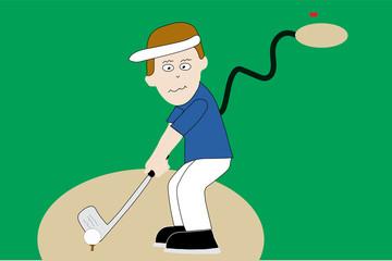 Golfer on tee on golf course